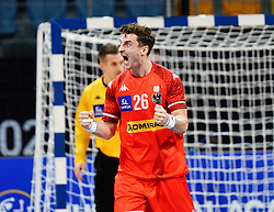 14.01.2021, 6th of October Sports Hall, Gizeh, EGY, IHF WM 2021, Österreich vs Schweiz, Herren, Gruppe E, im Bild Jubel, Lukas Herburger, // during the IHF men's World Championship group E match between Austria and Switzerland at the 6th of October Sports Hall in Gizeh, Egypt on 2021/01/14. EXPA Pictures © 2020, PhotoCredit: EXPA/ Diener/Eva Manhart<br /> <br /> *****ATTENTION - OUT of AUT and SUI*****