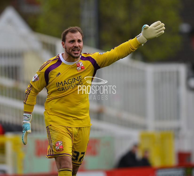 Swindon Towns goalkeeper Cameron Belford during the Sky Bet League 1 match between Swindon Town and Leyton Orient at the County Ground, Swindon, England on 3 May 2015. Photo by Mark Davies.