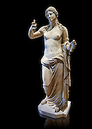 Aphrodite- type known as the Venus of Arles. A Roman statue in marble of the 1st - 2nd century AD in marble from Rome. The statue is a 1.94-metre-high (6.4ft) and is  probably a copy of the Aphrodite of Thespiae a lost bronze sculpture by 4th century BC Greek Athenian sculpture Praxiteles . From the Royal collection Inv MR 366 ( or Ma 437), Louvre Museum, Paris. .<br /> <br /> If you prefer to buy from our ALAMY STOCK LIBRARY page at https://www.alamy.com/portfolio/paul-williams-funkystock/greco-roman-sculptures.html- Type -    Louvre    - into LOWER SEARCH WITHIN GALLERY box - Refine search by adding a subject, place, background colour,etc.<br /> <br /> Visit our CLASSICAL WORLD HISTORIC SITES PHOTO COLLECTIONS for more photos to download or buy as wall art prints https://funkystock.photoshelter.com/gallery-collection/The-Romans-Art-Artefacts-Antiquities-Historic-Sites-Pictures-Images/C0000r2uLJJo9_s0c