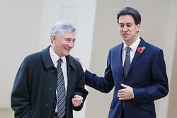 © Licensed to London News Pictures . 02/11/2012 . Manchester , UK . The leader of the Labour Party , Ed Miliband (right) with Labour's Candidate for Manchester's Police Commissioner , Tony Lloyd (left) , at the National Cycling Centre in Manchester , today (Friday 2nd November 2012) . Mr Miliband joins Lucy Powell who is standing for the constituency of Manchester Central in the city's upcoming by-election . Photo credit : Joel Goodman/LNP