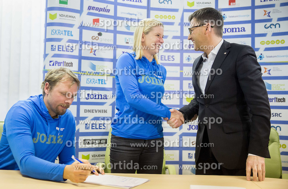 Matej Juhart, Marina Tomic and Roman Dobnikar, new president of AZS during press conference when Slovenian athletes and their coaches sign contracts with Athletic federation of Slovenia for year 2016, on February 25, 2016 in AZS, Ljubljana, Slovenia. Photo by Vid Ponikvar / Sportida
