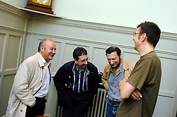 l to r :  George Galloway MP,   John Rees, General secretary Respect Party ;  Boris Kagarlitsky, Director, IPROG ; Guy Taylor.<br /> <br /> at the Bishopsgate Institute, London<br /> October 13, 2005 <br /> BP Target Anglo-Russian Campaign meeting<br /> <br /> Photographer ELLIOTT FRANKS