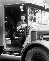 Embargoed to 0001 Wednesday April 29 File photo dated 01/01/1945 of Princess Elizabeth at the wheel of an army vehicle while serving in the Auxiliary Territorial Service during the Second World War. A teenage Princess Elizabeth danced in jubilation on VE Day after slipping into the crowds unnoticed outside Buckingham Palace.