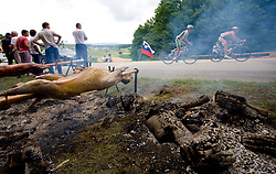 Sheep roasting at Slovenian National Championships in Road cycling, 178 km, on June 28 2009, in Mirna Pec, Slovenia. (Photo by Vid Ponikvar / Sportida)