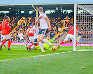 Lucas Piazon of Fulham and David Stockdale of Brighton and Hove Albion during the Sky Bet Championship match at Craven Cottage, London<br /> Picture by Richard Brooks/Focus Images Ltd 07947656233<br /> 02/01/2017
