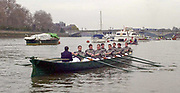 """Putney. London.  2004 University Boat Race,  Championships Course, Putney to Mortlake. <br /> Re enactment row Boat Race. , Cambridge and Oxford . OUBC Boating from the  """"Hard"""" .  to complete [Mandatory Credit Peter SPURRIER]"""