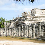 The Temple of the Warriors at Chichen Itza, a pre-Columbian Maya site on Mexico's Yucatan Peninsula.