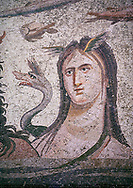 Roman Mosaic - close up of  Tethys wife of river god Oceanos. The Oceanos & Tethys Mosaic, fom The House of Oceanos, Zeugma.  2nd - 3rd century AD. Zeugma Mosaic Museum, Gaziantep, Turkey.<br /> <br /> The Oceanos and Tethys Mosaic is the floor mosaic of the shallow pool of the House of Oceanos. In this mosaic, which belongs to the Early Roman Empire Period, Oceanos, the river god who is the origin of life, and his wife Tethys are represented. At the middle of the mosaic which is surrounded by a geometric triple tress borders there are Oceanos and his wife Tethys. Around them there are Eros figures riding various species of fish and dolphins symbolising the abundance of the sea. The most represented attributes of Oceanos are snake and fish.<br /> <br />  in the mosaic, Oceanos is seen with chelas. Those chelas are among his most characteristic attributes. Though the tail of an eel is represented as his feet in the figures on ceramics, within the scope of the art of mosaic he is represented as a bust and only with the chelas on his head such as this one. His wife Tethys is right by his side and represented with wings upon her forehead. Between them, there is the dragon called Cetos which is a mythological sea creature. As is seen in the coins of Zeugma, the Euphrates River is expressed as a dragon. Besides these two figures, on the top-right of the mosaic, there is a young male figure which is thought to be Pan, the patron of fishermen and shepherds. The fact that Eros figures and Pan which are the side figures are located outward implies that the pool is built to allow walking around. <br /> <br /> The expression of the Oceanos as not an ocean but a river surrounding the world: By that the water, which vapours with the heat of the sun and then gives life to the nature by becoming rain, and which after being used by the nature reaches again the sea via the rivers is expressed. The water becomes aware of itself and its function by that cycle. This phenomenon is repres