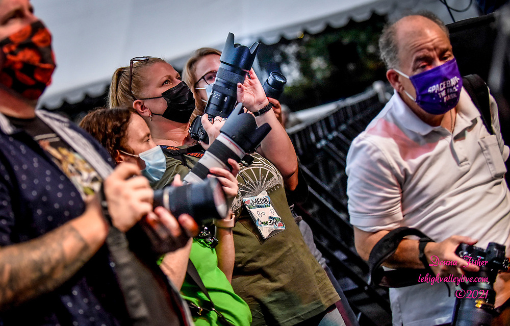 Working photographers make pictures as Preservation Hall Jazz Band, Christine Havrilla and Hector Rosado perform at Wind Creek Steel Stage on August 7, 2021. Musikfest, a festival of ArtsQuest, is held August 6 –15, 2021 in Bethlehem, Pa..