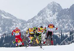 10.12.2011, Ramsau am Dachstein, AUT, FIS Nordische Kombination, 10Km Langlauf, im Bild Chappuis Jason Lamy (FRA, vorne) gefolgt von Tino Edelmann (GER, M) und Wilhelm Denifl (AUT) und Jan Schmid (NOR, L) // Chappuis Jason Lamy of France, Tino Edelmann of Germany, Jan Schmid of Norway and Wilhelm Denifl of Austria during 10km Cross Country at FIS Nordic Combined World Cup in Ramsau, Austria on 2011/12/10. EXPA Pictures © 2011, PhotoCredit: EXPA/ Johann Groder