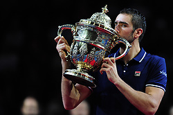 October 30, 2016 - Basel, Basel, Switzerland - Marin Cilic (CRO) kisses the trophy after winning the Swiss Indoors at St. Jakobshalle in Basel, Switzerland on October 30, 2016. (Credit Image: © Miroslav Dakov/NurPhoto via ZUMA Press)