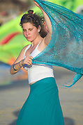 Israel, Tel Aviv, Drummer's beach, A young woman in her 20s Scarf dancing on the Beach October 2005