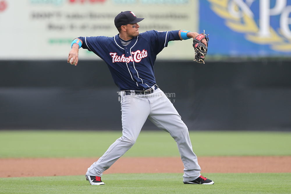 New Hampshire Fisher Cats second baseman Brian Bocock #10 bats during a game against the Bowie Baysox at Prince George's Stadium on June 17, 2012 in Bowie, Maryland. New Hampshire defeated Bowie 4-3 in 13 innings. (Brace Hemmelgarn)