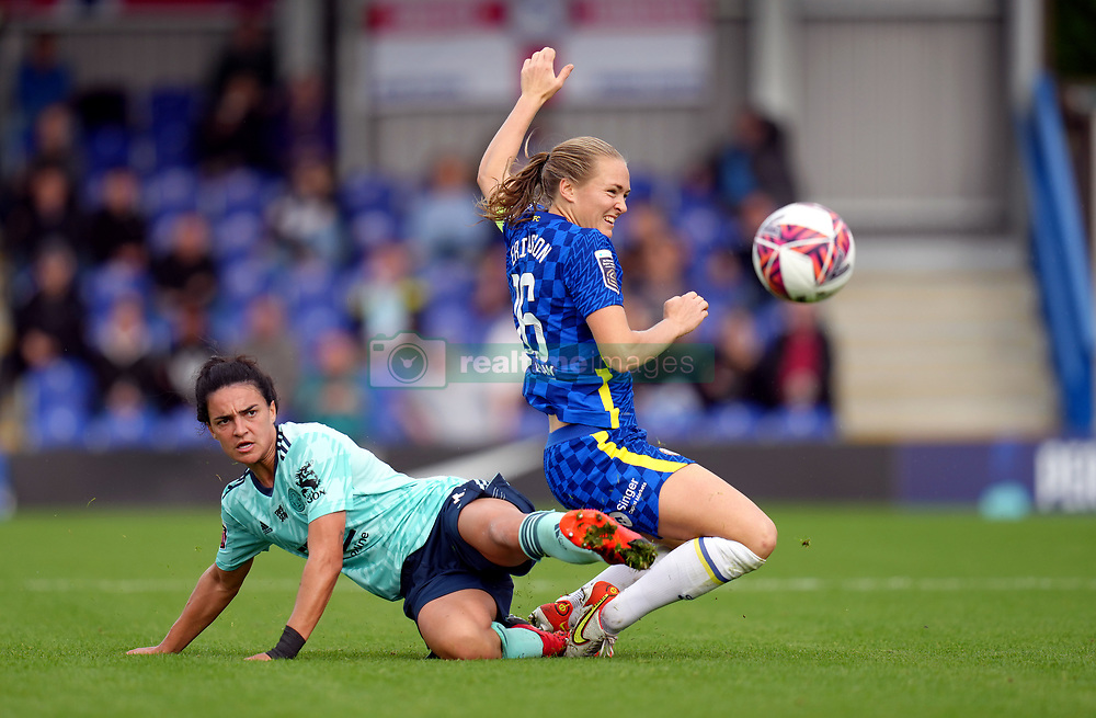 Chelsea Women's Magdalena Eriksson (right) and Leicester City Women's Jessica Sigsworth battle for the ball during the FA Women's Super League match at Kingsmeadow, London. Picture date: Sunday October 10, 2021.