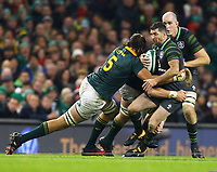 Rugby Union - 2017 Guinness Series (Autumn Internationals) - Ireland vs. South Africa<br /> <br /> Ireland's Rob Kearney is tackled by South Africa's Peter-Steph du Toit and Lood de Jager  at the Aviva Stadium.<br /> <br /> COLORSPORT/KEN SUTTON