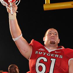 Sep 19, 2009; Piscataway, NJ, USA; Rutgers center Ryan Blaszczyk (61) celebrate Rutgers' 23-15 victory over Florida International at Rutgers Stadium.