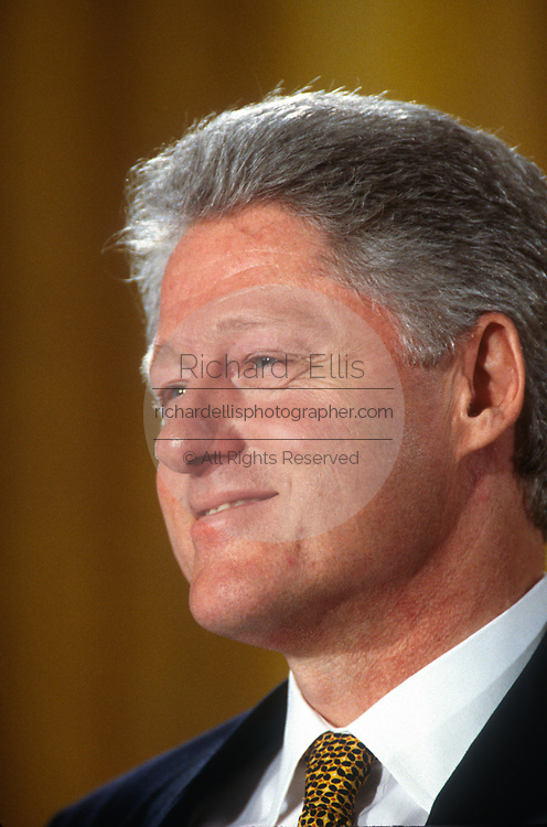 WASHINGTON, DC, USA - 1997/04/02: U.S. President Bill Clinton during a Roundtable Discussion on Education event in the East Room of the White House April 2, 1997 in Washington, DC.   (Photo by Richard Ellis)