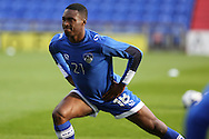 Darius Osei of Oldham Athletic warms up before  the EFL Cup match between Oldham Athletic and Wigan Athletic at Boundary Park, Oldham, England on 9 August 2016. Photo by Simon Brady.