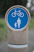 Cycle path footpath blue circular sign