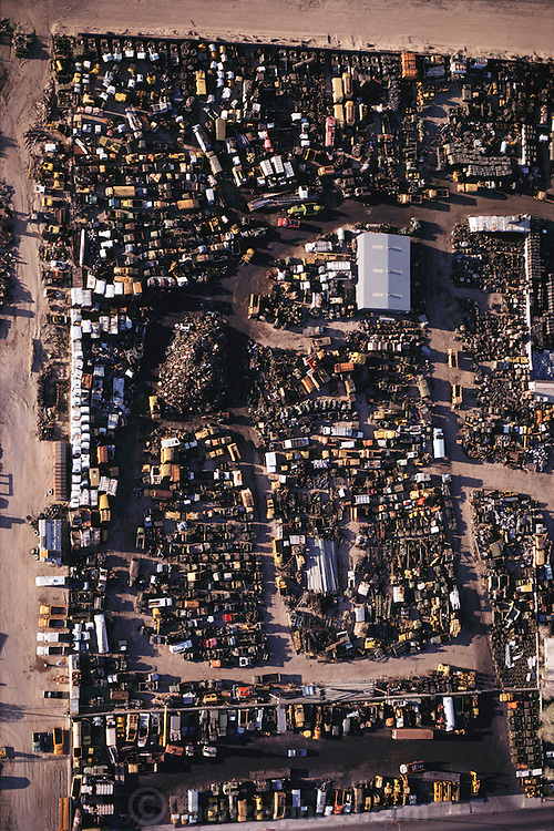 Aerial photograph of a junkyard in Barstow, California. Auto dismantling yard.