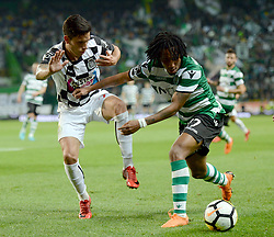 LISBON, April 23, 2018  Gelson Martins (R) of Sporting vies with Renato Santos of Boavista during Portuguese League soccer match between Sporting CP and Boavista FC in Lisbon, Portugal, on April 22, 2018. Sporting won 1-0.  wll) (Credit Image: © Zhang Liyun/Xinhua via ZUMA Wire)