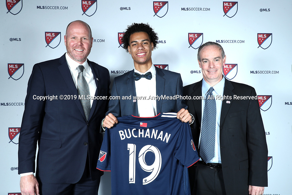CHICAGO, IL - JANUARY 11: Tajon Buchanan was taken with the ninth overall pick by the New England Revolution. With head coach Brad Friedel (left) and general manager Mike Burns (right). The MLS SuperDraft 2019 presented by adidas was held on January 11, 2019 at McCormick Place in Chicago, IL.