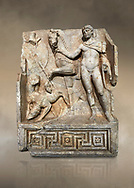 RomanSebasteion relief  sculpture of Royal Hero with hunting dogs,  Aphrodisias Museum, Aphrodisias, Turkey.  Against an art background.<br /> <br /> A diademed youth stands with his horse and hunting dogs. At the left an oval shield (foreign) hangs from a leafless tree, against which leans a long thin club. The Royal hero in this and the relief to the left is probably a local founder such as Assyrian King Ninos, claimed as founder of their city by the Aphrodisians. .<br /> <br /> If you prefer to buy from our ALAMY STOCK LIBRARY page at https://www.alamy.com/portfolio/paul-williams-funkystock/greco-roman-sculptures.html . Type -    Aphrodisias     - into LOWER SEARCH WITHIN GALLERY box - Refine search by adding a subject, place, background colour, museum etc.<br /> <br /> Visit our ROMAN WORLD PHOTO COLLECTIONS for more photos to download or buy as wall art prints https://funkystock.photoshelter.com/gallery-collection/The-Romans-Art-Artefacts-Antiquities-Historic-Sites-Pictures-Images/C0000r2uLJJo9_s0
