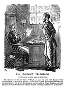 "The District Telegraph. Invaluable to the Man of Business. First Partner (to Second ditto). ""What an age we live in! Talk of the introduction of steam or gas! Just look at the facilities afforded by electricity. It is now six o'clock, and we are in Fleet Street, and this message was only sent from Oxford Street yesterday afternoon at three!"""