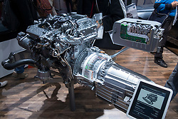 New Mercedes Benz hybrid diesel - electric engine and motor on display at Paris Motor Show 2012