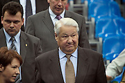 Moscow, Russia, 16/10/2004..The WTA Kremlin Cup tennis tournament. First Russian President Boris Yeltsin watching women's singles matches..