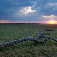 Africa, Botswana, Savute. Sunset at Savute.
