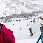 Forrest Jillson showing the crowd and competitors how to use Corbet's Couloir as a playground not just backslapping chuck fest.