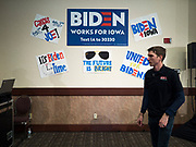21 JANUARY 2020 - AMES, IOWA: People in a Joe Biden campaign event at the Gateway Hotel and Conference Center in Ames, Tuesday. About 150 people came to listen to former Vice President Biden talk about his reasons for running for President. Iowa hosts the first event of the presidential election cycle. The Iowa Caucuses are Feb. 3, 2020.       PHOTO BY JACK KURTZ