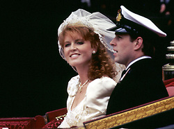 The Duke and Duchess of York (formerly Prince Andrew and Miss Sarah Ferguson) smile happily during their carriage procession after their wedding at Westminster Abbey in London. Sarah, Duchess of York is the archetypal mother of the bride, a larger-than-life character prone to controversy, outspoken and fiercely loyal to her family.