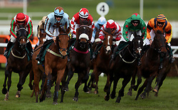 Jockey Sam Twiston-Davies (2nd Left) ridding his horse Duke Street in the Kingston Stud Supporting The IJF Handicap Hurdle 4.20pm race during the April Meeting at Cheltenham Racecourse