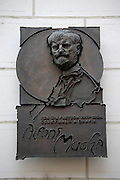 Plaque marking the Alphonse Mucha Museum near Wenceslas Square in Prague, Czech Republic. Mucha was one of the most famous Art Nouveau artists of the period and lived in Prague.