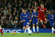 Eden Hazard of Chelsea gets away from Philippe Coutinho of Liverpool. Premier League match, Liverpool v Chelsea at the Anfield stadium in Liverpool, Merseyside on Saturday 25th November 2017.<br /> pic by Chris Stading, Andrew Orchard sports photography.