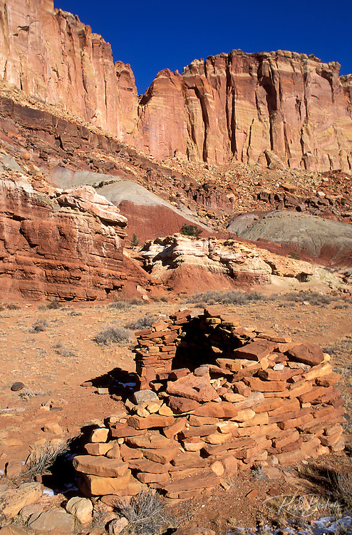 Remains of a miner's cabin and uranium mine at the mouth of Grand Gulch, Waterpocket Fold, Capitol Reef National Park, Utah