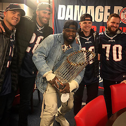 """50 Cent releases a photo on Instagram with the following caption: """"Chilling with the World Series champs Boston Red Sox. I asked them about you they don\u2019t know you\ud83e\udd37\ud83c\udffd\u200d\u2642\ufe0fLOL#lecheminduroi"""". Photo Credit: Instagram *** No USA Distribution *** For Editorial Use Only *** Not to be Published in Books or Photo Books ***  Please note: Fees charged by the agency are for the agency's services only, and do not, nor are they intended to, convey to the user any ownership of Copyright or License in the material. The agency does not claim any ownership including but not limited to Copyright or License in the attached material. By publishing this material you expressly agree to indemnify and to hold the agency and its directors, shareholders and employees harmless from any loss, claims, damages, demands, expenses (including legal fees), or any causes of action or allegation against the agency arising out of or connected in any way with publication of the material."""