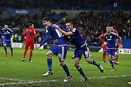 Joe Mason of Cardiff city (l) celebrates with his teammate Craig Noone after he scores his teams 1st goal. Skybet football league championship match, Cardiff city v Blackburn Rovers at the Cardiff city stadium in Cardiff, South Wales on Saturday 2nd Jan 2016.<br /> pic by Andrew Orchard, Andrew Orchard sports photography.