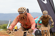 Cherise Stander and Theo Blignaut of Team RECM mixed leave waterpoint 3, during stage 2 of the 2014 Absa Cape Epic Mountain Bike stage race from Arabella Wines in Robertson, South Africa on the 25 March 2014<br /> <br /> Photo by Greg Beadle/Cape Epic/SPORTZPICS