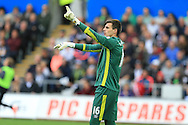 Eldin Jakupovic , the Hull city goalkeeper looks on.Premier league match, Swansea city v Hull city at the Liberty Stadium in Swansea, South Wales on Saturday 20th August 2016.<br /> pic by Andrew Orchard, Andrew Orchard sports photography.