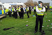 Cannabis legalisation supporters gather to smoke cannabis in London's Hyde Park on Tuesday, April 20 2021. Members of London Metropolitan Police (in picture) are attending to maintain order and supervise. (VXP Photo/ Andrew Blowers)