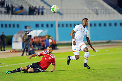 October 7, 2017 - Monastir, Tunisia - Botaka Jordan Rolly(7) of Dr Congo and Aboub Mouad(4) during the qualifying match for the FIFA 2018 World Cup in Russia between Libya and the Democratic Republic of Congo (DR Congo) at Mustapha Ben Jannet stadium in Monastir  (Credit Image: © Chokri Mahjoub via ZUMA Wire)
