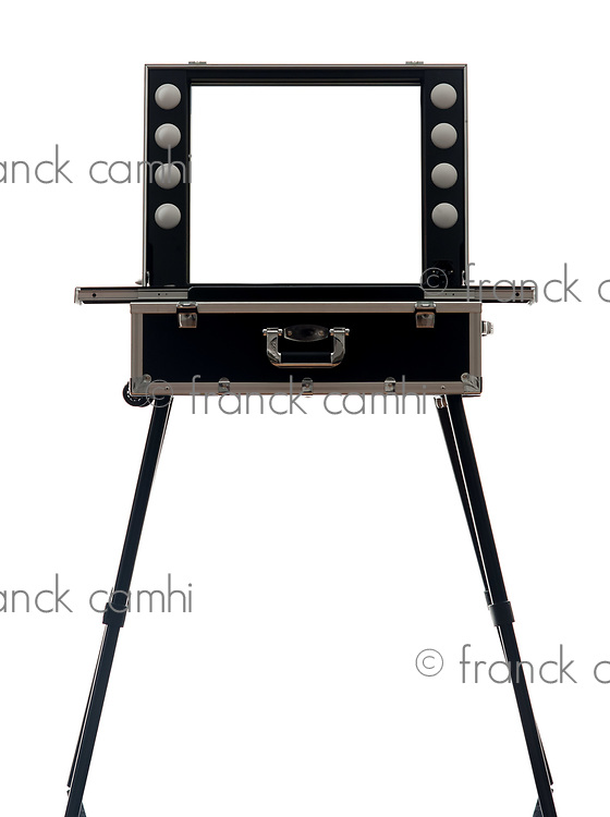 one make up artist suitcase in silhouette on white background