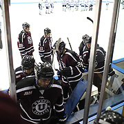 Union College players leave the ice at the end of the game during the Yale Vs Union College, Men's College Ice Hockey game at Ingalls Rink, New Haven, Connecticut, USA. 28th February 2014. Photo Tim Clayton