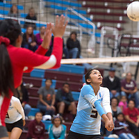 Ganado Hornet Mariah Cook (3) bumps the ball during the game against Monument Valley in Ganado Tuesday.