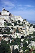 Historic buildings in hilltop medieval village of Gordes, Vaucluse, Provence, France 1974