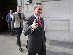 © Licensed to London News Pictures. 18/04/2019. London, UK. Brexit Party leader NIGEL FARAGE is seen leaving Milbank studios in Westminster after a television appearance. The newly formed Brexit Party has taken a sudden surge in polls ahead of upcoming European elections in May.  Photo credit: Ben Cawthra/LNP