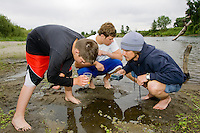 Teen Students Examine River Water, Sacramento River, CA